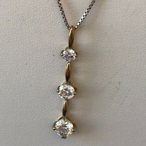Jewelry - Vintage sterling silver CZ pendant necklace gold p